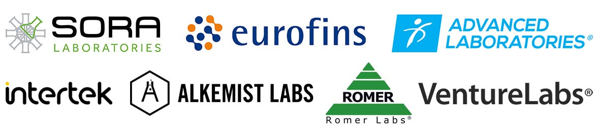 SORA Labs, Eurofins, Advanced Labs, Alkemist Labs, Romer Labs, InterTek, Venture Labs