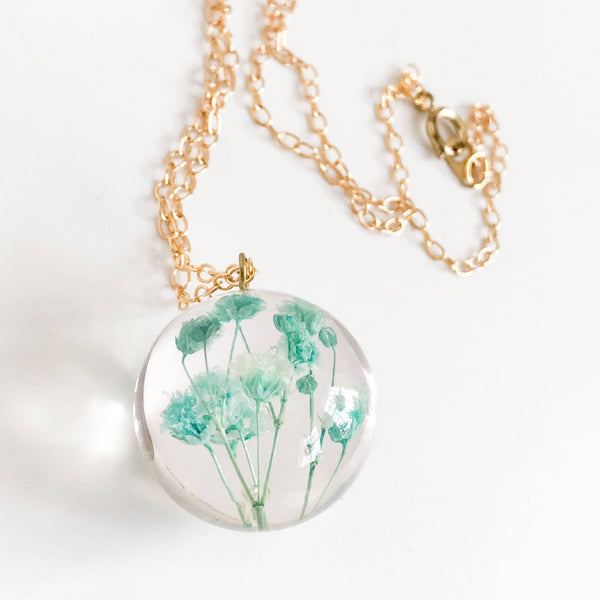 Botanical Sphere Gypsophila Necklace - Large
