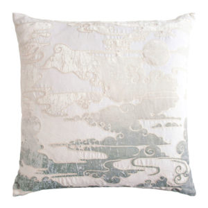 Clouds Embroidered Velvet Appliqué Linen Pillow