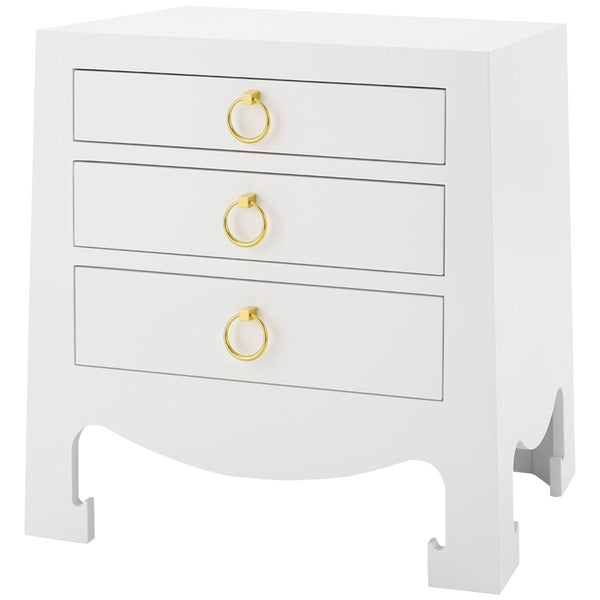 Jacqui 3 Drawer Side Table White Grasscloth