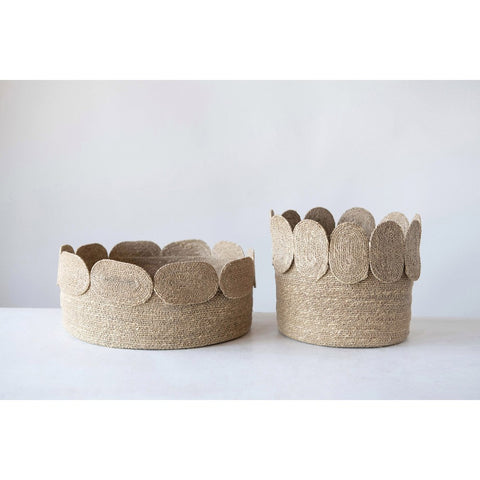 Hand-Woven Natural Seagrass Baskets w/ Appliqued Edge