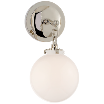 Katie Small Globe Sconce with White Glass