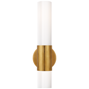 Penz Medium Cylindrical Sconce with White Glass