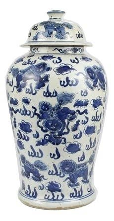 Large Foo Dog and Floral Ginger Jar