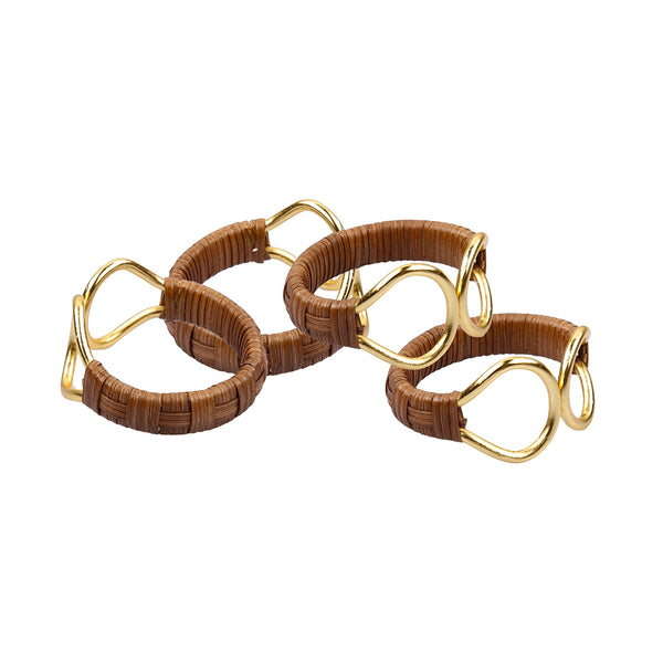 Rattan Wrapped Napkin Rings