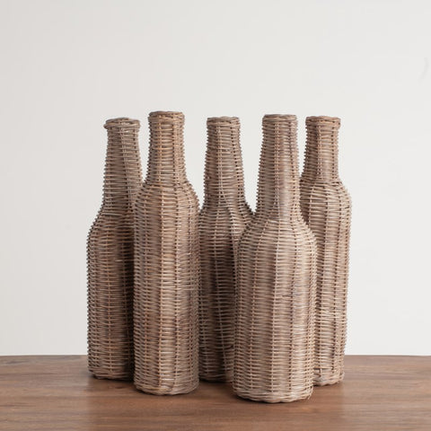 Sabrina Wicker Wrapped Glass Bottles