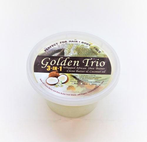Cosmethings Golden Trio(Whipped African Shea butter, Cocoa Butter & coconut Oil) 16 oz - a1beaute