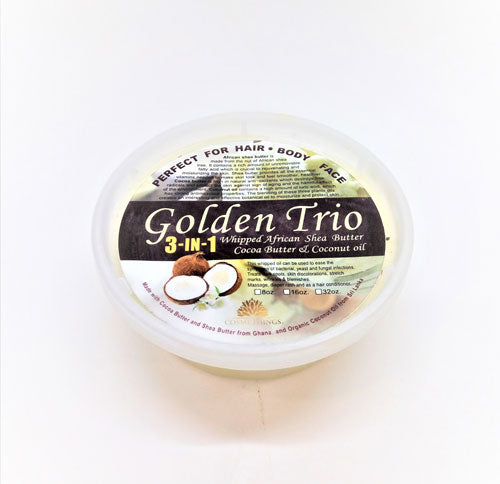 Cosmethings Golden Trio(Whipped African Shea butter, Cocoa Butter & coconut Oil) 8 oz - a1beaute