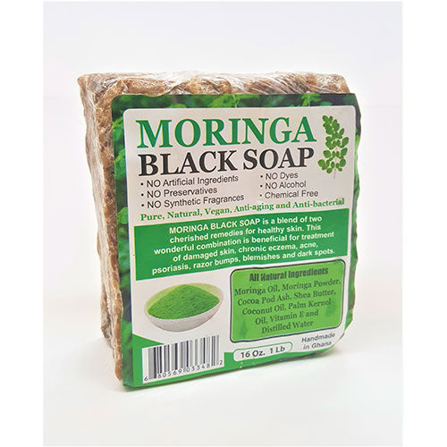 Cosmethings 100% Natural African Moringa Black Soap 16 oz - a1beaute