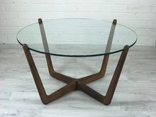 SOLD!!! Mid Century Modern Round Glass and Wood Coffee Table - colourmekt