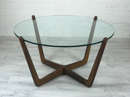 Mid Century Modern Round Glass and Wood Coffee Table - colourmekt