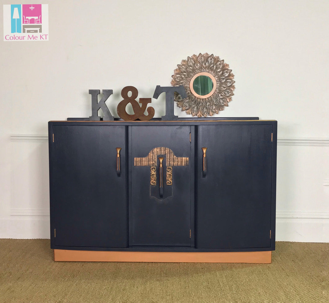 S O L D ! ! !       Copper and Navy Sideboard, Blue Sideboad, Art Deco Sideboard - colourmekt