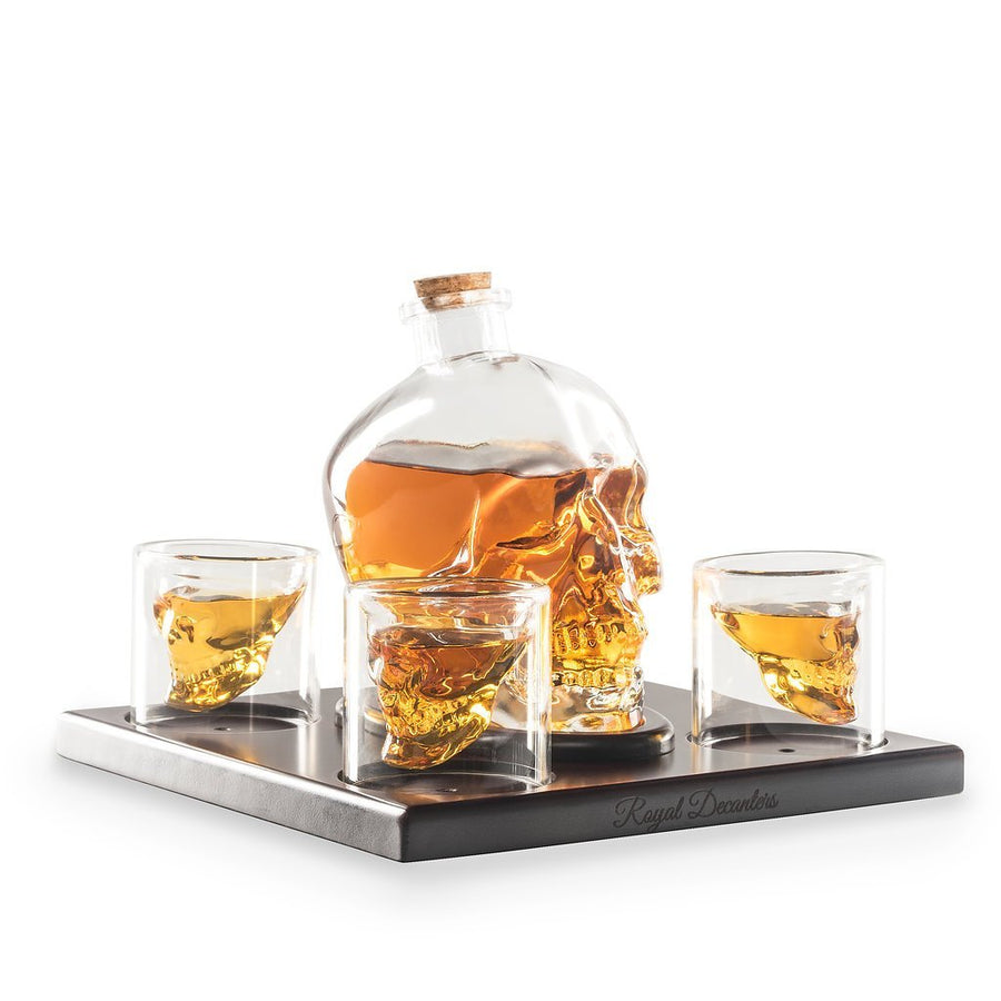 Skull Shaped Glass Whiskey Decanter Set