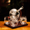 Etched Globe Whiskey Decanter Set
