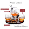 ROUND BASE ETCHED GLOBE WHISKEY DECANTER SET