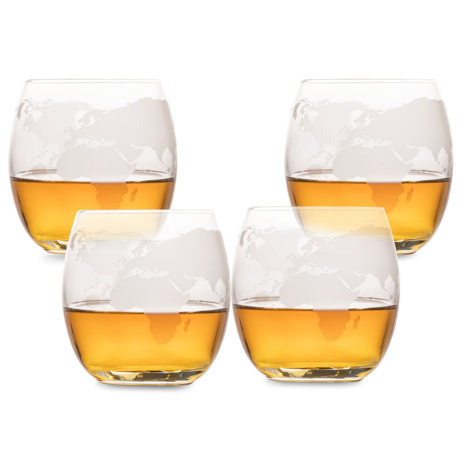 Whiskey Glasses Etched with World Map - Set of 4