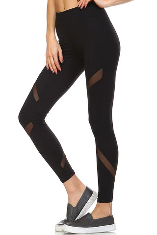 High Waisted Mesh Panel Athletic Leggings - Black