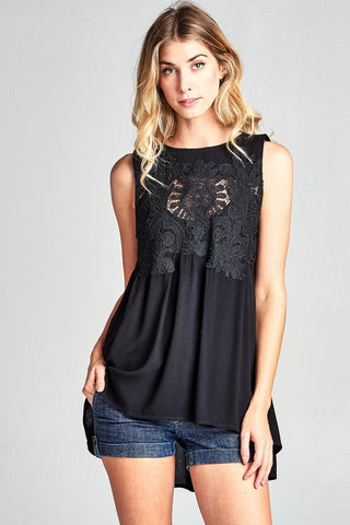 Sleeveless Lace Trimmed A Line Top - Black