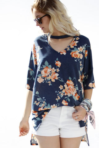 Half Sleeve Floral Print Top with Choker Neck- Navy