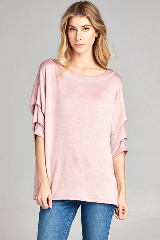 Wide Neck 1/2 Gathered Sleeve Loose Fit Top - Dusty Rose