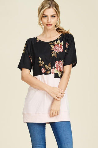 Raglan Sleeve Floral Print Tunic - Black/Blush