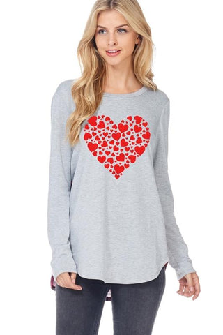 Valentine Heart Graphic Top with Plaid - Heather Grey