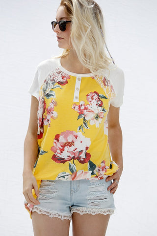 Lace Patch Detail Floral Short Sleeve Top - Yellow/Ivory