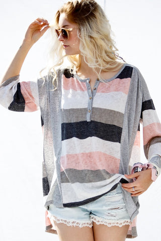 3/4 Sleeve Multi Striped Loose Fit Top - Blush