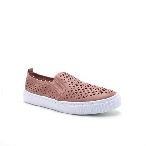 Perforated Slip On Sneakers - Mauve