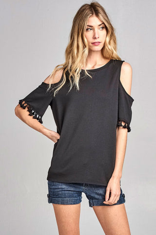 Cold Shoulder Pom Pom Tassle Short Sleeve Top - Black