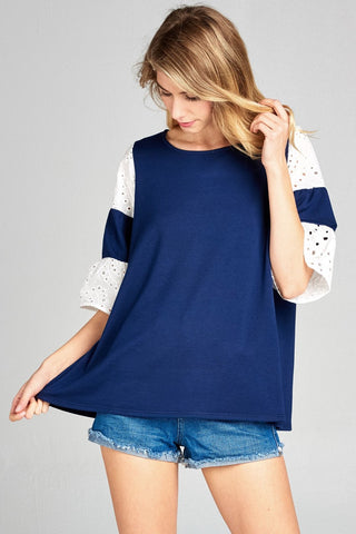 3/4 Top with Accent Broderie Sleeves - Navy