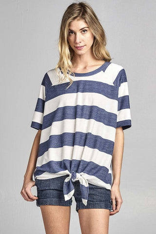 Chunky Striped Front Tie Short Sleeve Top - Denim Blue