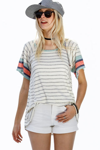 Short Sleeve Striped Contrast Tee - Mint