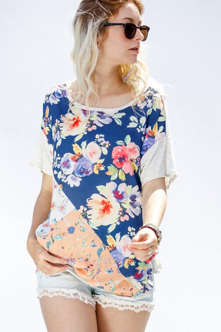 Multi Floral Patchwork Tee - Navy
