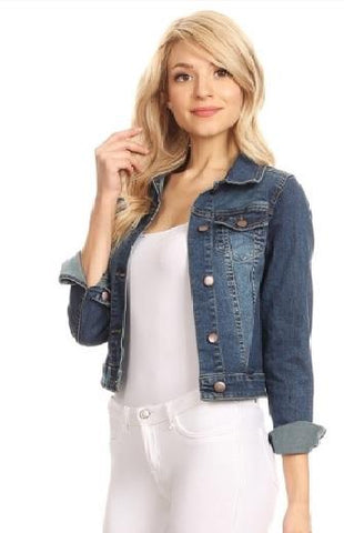 Cropped Solid Denim Jacket - Dark Blue