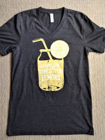 """When Life Gives You Lemons"" Graphic Tee V-Neck - Dark Heather Grey"