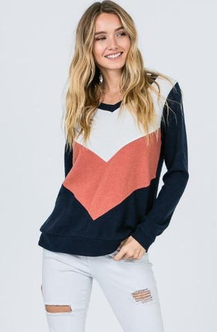 Long Sleeve V-Neck Color Block Sweater - Navy