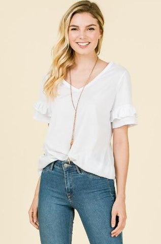 Short Sleeve VNeck with Ruffle Sleeves - White