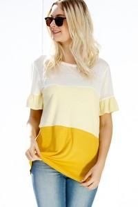 Color Block Ruffle Short Sleeve Tee - Yellow