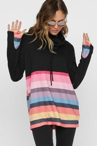 French Terry Cowl Neck Long Sleeve Top with Multi Colored Stripes
