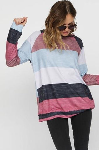 French Terry Multi Colored Striped Long Sleeve Sweatshirt