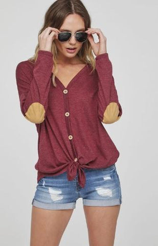 Buttoned Front Hacci Knit Long Sleeve Top - Burgundy