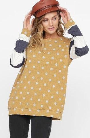 Polka Dot French Terry Long Sleeve Top - Mustard/Navy