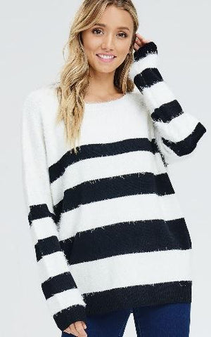 Striped Fuzzy Pullover Sweater - Black/White