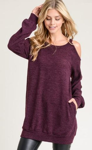 Long Sleeve Cold Shoulder Top - Eggplant