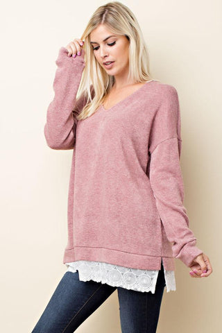 V Neckline Sweater with Lace Trim - Blush