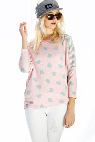 3/4 Sleeve Mint Heart Accent Top - Pink