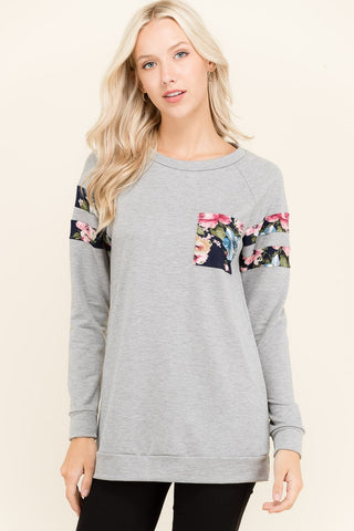 French Terry Floral Striped Sweater with Pocket