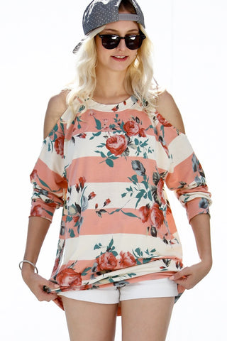 3/4 Sleeve Floral Print Cold Shoulder Top - Coral