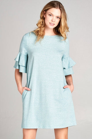 Side Pocket Tee Dress with Tiered Ruffle Sleeves -Mint